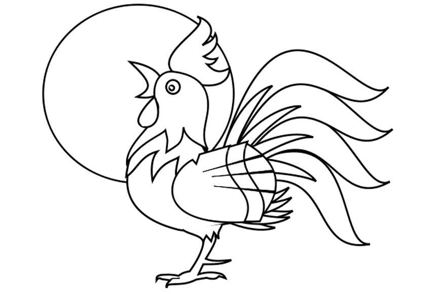 Dibujos Gallos Para Colorear: Dibujo De Un Gallo